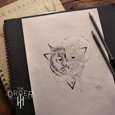 Geometric Owl Sketch The Order