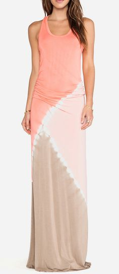 Young, Fabulous & Broke Hamptons Maxi Dress in Coral Tri Block