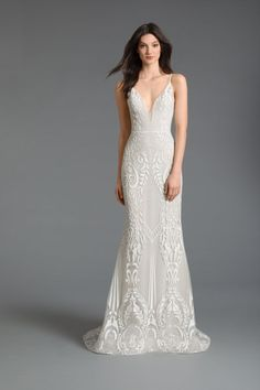 Style 2909 Sofia Tara Keely by Lazaro bridal gown - Ivory/cashmere sparkle embroidered trumpet bridal gown, plunging V-neckline front and back, natural waist, chapel train.Also available in Ivory/Ivory. How To Dress For A Wedding, Fit And Flare Wedding Dress, Wedding Dress Over 40, Plunge Neckline Wedding Dress, Art Deco Wedding Dress, Lazaro Dresses, Bridal Dresses, Beaded Dresses, Designer Wedding Dresses