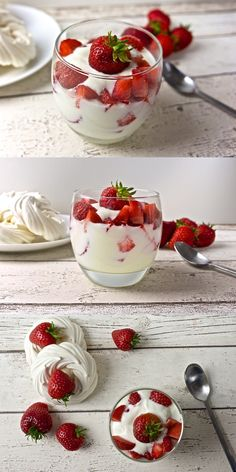Light Eton Mess, made of natural yoghurt, fresh strawberries and meringues. Desserts In A Glass, Fun Desserts, Delicious Desserts, Dessert Recipes, Yummy Food, Strawberry Meringue, Strawberry Recipes, Healthy Eating Recipes, Cooking Recipes