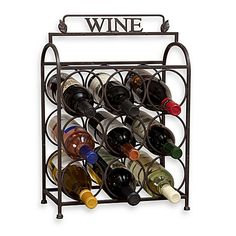 This decorative Vintage 9-Bottle Wine Rack will be a welcomed addition in any space. Made of solid metal, this attractive, compact wine holder is easily transportable to any room.