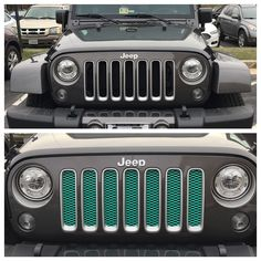 My Before And After Custom Mint Green Grill Insert Jeep Grill Jeep Wrangler Grill Dream Cars Jeep