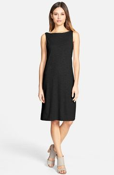 Eileen Fisher Hemp & Organic Cotton Bateau Neck Knee Length Dress (Regular & Petite) available at #Nordstrom