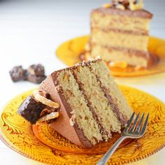 A spice cake made with cinnamon, cloves and orange zest; frosted with bittersweet chocolate frosting and candied orange zest.