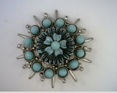 1930's Turquoise Colored Glass Brooch by MonCoeurfinejewelry, $55.00