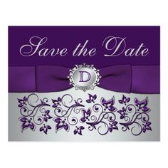 Monogram Save the Date Wedding Cards Monogram Purple Gray Floral Save the Date Postcard