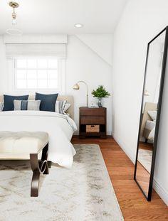 Minimalist Coastal Bedroom in White – Bedroom – The Home Depot Cheap Vinyl Flooring, Laminate Hardwood Flooring, Minimalist Bedroom, Minimalist Home, Master Bedroom, Bedroom Decor, White Bench, Long Walls, Floor Mirror