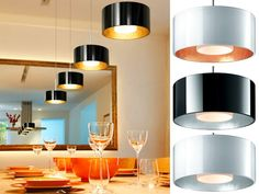 Bruck Lighting's Cantara Pendant, available in black/gold, black/silver, white/gold, white/silver, and white/white color combo options.