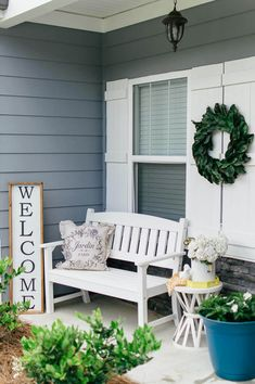 Farmhouse Front Porch Inspiration for Summer // Farmhouse Front Porch Decor, Front Porch, Porch Decor, Porch Decorating, Porch Ideas, Small Porch, Farmhouse Porch, Small Front Porch, Farmhouse Front Porch, Front Porch Decorations, Front Porch Ideas, Cozy Front Porch, Summer Front Porch, Outdoor Summer Decor, Summer Decor, Front Porch Summer, Magnolia Wreath, White Bench, Farmhouse Decor, Farmhouse Style, Farmhouse Decorating, Farmhouse, Modern Farmhouse, Modern Farmhouse Style
