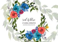 Watercolor Red & Blue Flowers Wreath by PatishopArt on @creativemarket