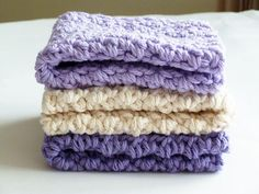 Crocheted Cotton Dish Cloth Set in Dk Purple, Light Purple and Ivory