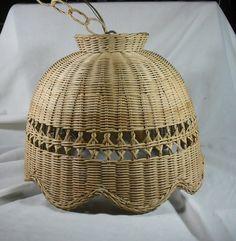 Large Woven Wicker Hanging Lamp Natural Finish Sun Room Patio Lighting Decor