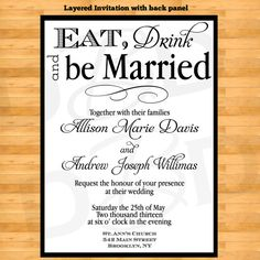 Eat, Drink And Be Married Wedding Inivtation Set   Wedding Invitation Set   Wedding  Invitations