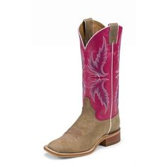 Women's Justin Tan Vintage Cow with Pink Top Square Toe Bent Rail - like the upper, just not sure about the toe