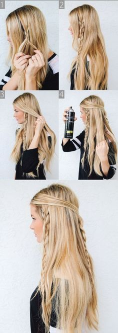 Hippie Braids - Barefoot Blonde 〰love brayding my hair Messy Braided Hairstyles, Braided Hairstyles Tutorials, Pretty Hairstyles, Hairstyle Ideas, Bohemian Hairstyles, Braided Updo, Pirate Hairstyles, Quick Hairstyles, Everyday Hairstyles