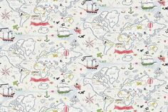 Treasure Map  (214040) - Sanderson Wallpapers - A fun pirate style map of the world, with lots of fun animals and pirate details, perfect for planning your own high sea adventures. Shown in neutral cream with coloured highlights. Wide width. Please request sample for true colour match.