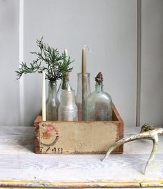 Crate and old bottles.  Here is what we should do with out old bottles. @Meredith Hake