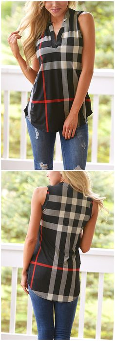 V-neck Stripe Pattern Irregular Hem Vest