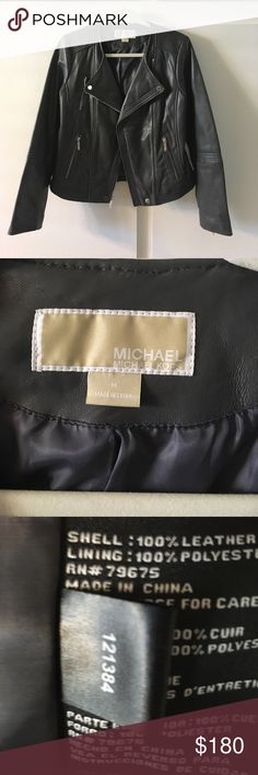 NWOT 100% Leather Jacket NWT Beautiful Michael Kors 100% Leather Jacket.  I took the tags off because I thought I would wear it but I also have a black leather jacket that I seem to always pick.  This jacket is absolutely gorgeous and I would love for it to go to someone who would wear it all the time! Pet & smoke free home! MICHAEL Michael Kors Jackets & Coats