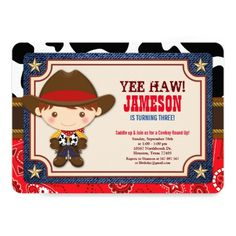 Shop Brown Cowboy Western Old West Birthday Invitation created by OwlieInvites. Cowboy Party Invitations, Western Invitations, Birthday Invitations Kids, Baby Shower Invitations, Invites, Rodeo Birthday, Cowboy Birthday Party, Cowboy Baby Shower, Western Babies