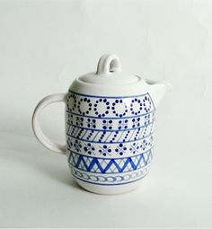 Modranska   faience milk jug   Slovakia Ceramic Design, Milk Jug, Blue Design, Handmade Pottery, Tea Pots, Objects, Hand Painted, Shapes, Tableware
