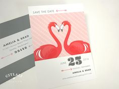 Flamingo Love Wedding Save the Date card - flamingo hearts modern invites - citlalicreativo.com - We make & ship to you anywhere!