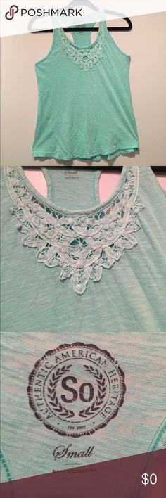 SO Light Turquoise Tank Top w/ Lace Neckline NWOT Light turquoise tank top with lace embellishment around the neckline. Soft material. Perfect condition. The brand is SO. Never worn but does not have tags. NWOT SO Tops Tank Tops