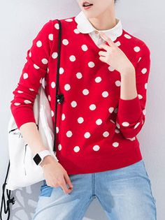 Shop Sweaters - Red Peter Pan Collar Polka Dots Long Sleeve Cotton Sweater online. Discover unique designers fashion at StyleWe.com.