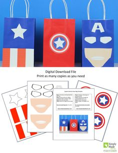 DIY Captain America Favor Bags. Simply Download, Print, Cut and Paste. Print as many copies as you need.