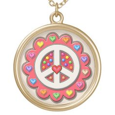 Red Peace Sign Flower Gold Plated Necklace Peace Sign Necklace, Gifts For Dad, Mom Presents, Gold Plated Necklace, Black Felt, As You Like, Fourth Of July, Fashion Handbags, Halloween Diy