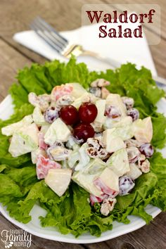 Waldorf Salad - The original Waldorf Salad recipe contained only apples, celery, and mayonnaise.  Many variations on this salad have been developed over the years by adding turkey, chicken, raisins, dates, walnuts, and even cauliflower.  I prefer this version with grapes, but when I can't get grapes at a reasonable price I will use raisins or dried cranberries instead.
