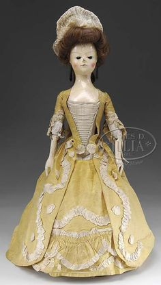 "Lot 3009. ELABORATE CARVED ENGLISH WOODEN DOLL, SO-CALLED ""QUEEN ANNE"". (11921)"