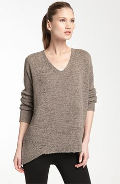 Vince V-Neck Sweater available at Nordstrom Dropped shoulder seams add to the slouchy silhouette of a chunky-knit V-neck sweater.