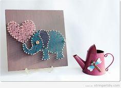 Elephant  and heart shaped String Art DIY