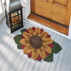Sunflower Door Mat ~ decorative sunflower door mat is made with 70% Coir, 30% Vinyl.