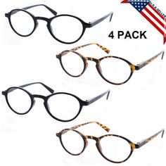 4 PACK READING GLASSES VINTAGE STYLE READERS    SPRING HINGES 33 #Fiore   $9.99  freew ship