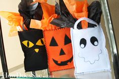 "Adorable Gift Bags for Halloween from ""How Does She.""  Beware- some sewing involved."