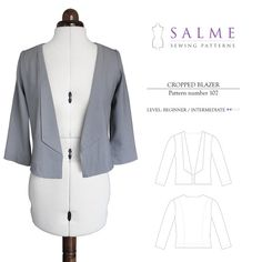 Cropped Blazer Sewing Pattern from Salme Patterns