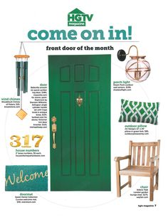 "HGTV Magazine ""Come on in"" NEED to paint the front door this green color"