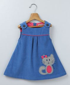 Take a look at this Blue Corduroy Sleeveless Dress with Cat Appliqué by Beebay on #zulily today!