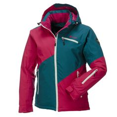 Kilpi, Gizela Ski Jacket, Women, Pink-turquoise  Cool jacket of Kilpi's Freeride collection With this cool ski and snowboard jacket you easily come down the slopes! Due to the many functional features this jacket is perfect for every type of skier or boarder.