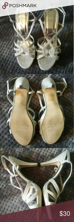 Pierre dumas silver sparkly heels Size 10 Part of insole is coming off but can be fixed Pierre Dumas Shoes Heels