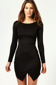 Lucy Wrap Over Skirt Detail Bodycon Dress