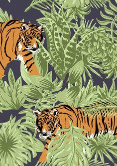 Saskia Pomeroy Topman prints is part of Jungle art - Pattern Art, Print Patterns, Jungle Pattern, Tiger Poster, Tiger Illustration, Jungle Art, Oriental Print, Tiger Art, Hippie Art