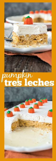 Pumpkin Tres Leches – Pumpkin cake is soaked in a mixture of tres leches (three milks), and covered with cinnamon whipped cream #recipe #tresleches #pumpkin #cake #cinnamon #fall #baking #dessert Pumpkin Cake Recipes, Cupcake Recipes, Pie Recipes, Fall Recipes, Yummy Recipes, Delicious Desserts, Cupcake Cakes, Cupcakes, Thanksgiving Desserts Easy