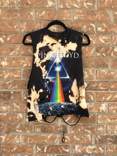 PINK FLOYD bleach tie dyed cropped, rock n roll shirt distressed grunge, concert wear, rock shirt