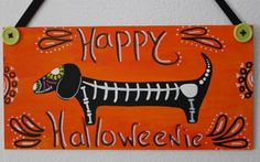 Halloween Dachshund Sugar Skull Skeleton by MaxMinnieandMe on Etsy, $15.00