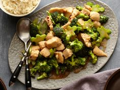 Get Chicken and Broccoli Stir-fry Recipe from Food Network. Fantastic recipe we eat all the time! This is my kids favorite way to eat broccoli! Stir Fry Recipes, Healthy Recipes, Asian Recipes, Cooking Recipes, Wok Recipes, Broccoli Recipes, Healthy Meals, Easy Recipes, Kitchen Recipes