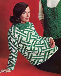 Emerald & Diamonds  1960s Pullover Sweater Patterns  60s