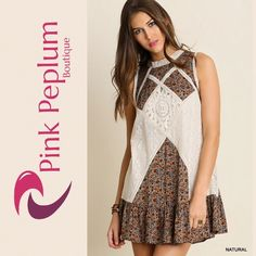 ARRIVAL! Sleeveless dress with lace detail Brand new, more description coming soon. Pink Peplum Boutique Dresses Mini